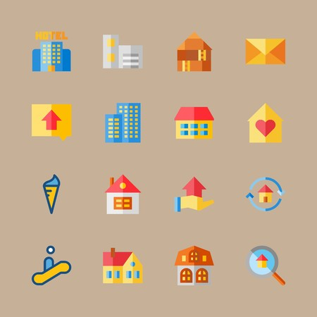 Icon set about travel with escalator, hotel and letter