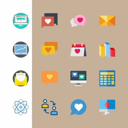 icon set about marketing with columns, mail and idea