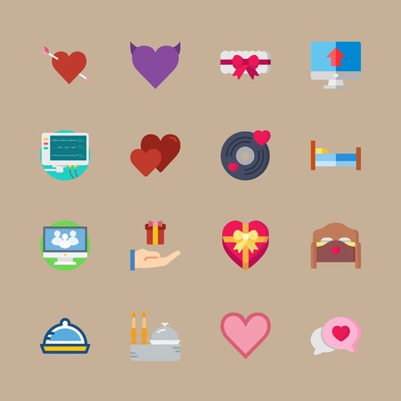 icon set about romance lifestyle with cardiogram machine, cardiogram and bed