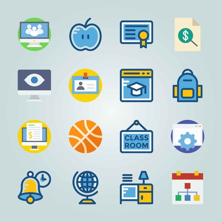 Icon set about Education And School. with diploma, books on desk and globus