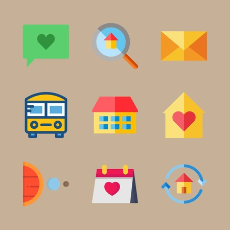 icon set about travel with moon, calendar and chat
