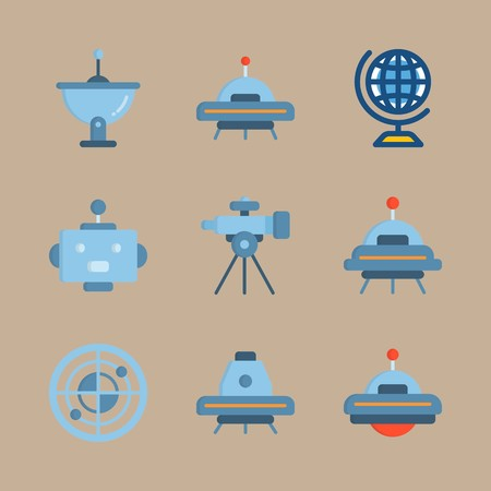 Icon set about universe with alien, ufo and space capsule