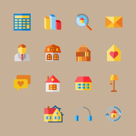 icon set about digital marketing with businessman, loupe and earphones