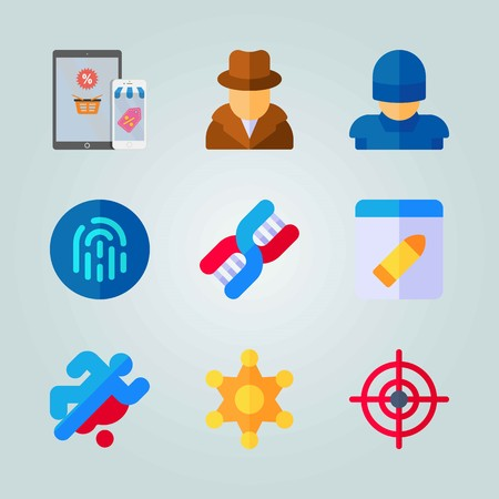 Icon set about Crime Investigation. with police badge, DNA and blood