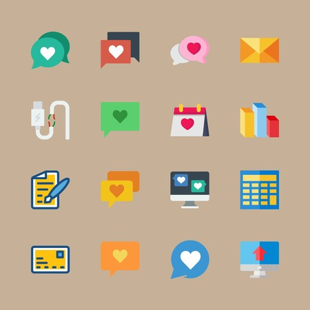icon set about marketing with broken cable, wedding day and cables 免版税图像 - 95588143