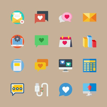 Icon set about marketing with wedding day, mail and columns