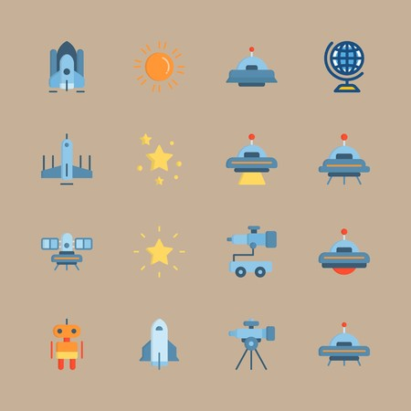 icon set about universe with telescope, satellite and spacecraft