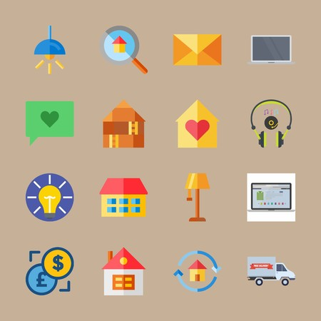 Icon set about digital marketing with headphones, house and electric Vettoriali