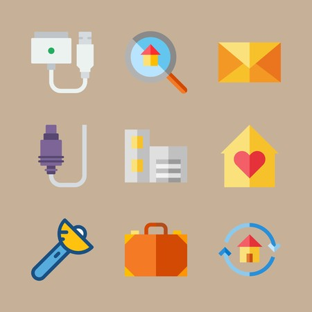 icon set about travel with bag, magsafe and letter 矢量图像