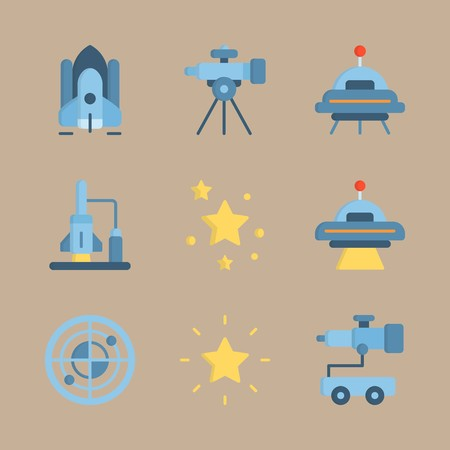 icon set about universe with alien, ufo and telescope car