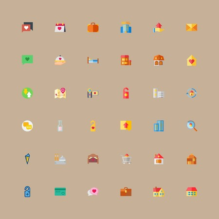 icon set about travel with letter, mail and bag