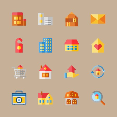 icon set about travel with kit, direction and building