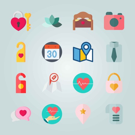 Icon set about Wedding. with flower, padlock and direction