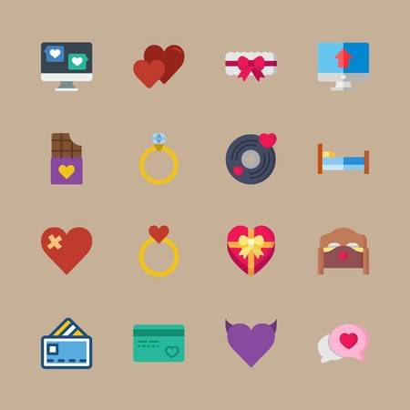 icon set about romance lifestyle with bed, hearts and ring Illustration