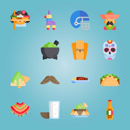 Icon set about Mexican Holiday De Mayo. with mexican woman, musical instrument and molcajete Illustration