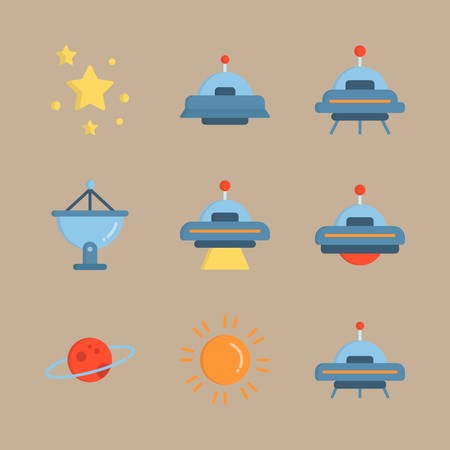 icon set about universe with planet saturn, satellite dish and sun