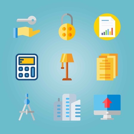 Icon set about Real Assets. with computer, calculator and papers