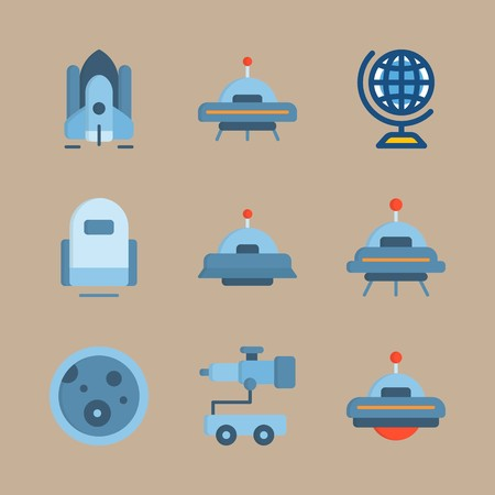 icon set about universe with alien, telescope car and robot