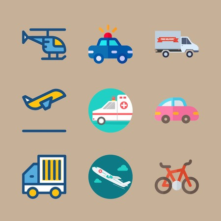 icon set about transport with departure, car and goods car 矢量图像