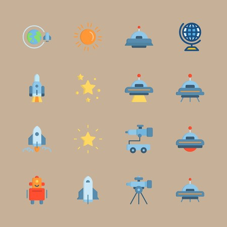 icon set about universe with planet earth, telescope and spacecraft