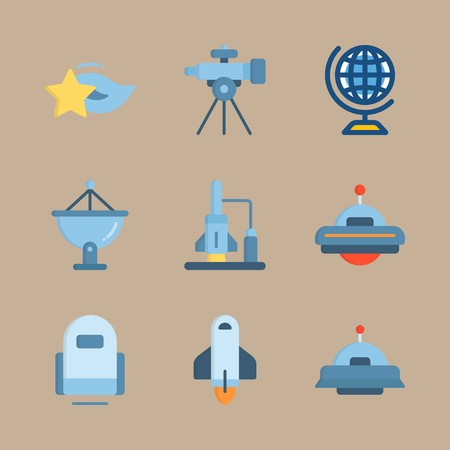 icon set about universe with satellite dish, star and earth
