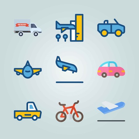 Icon set about Transport. with departure-arrival, front side and airport