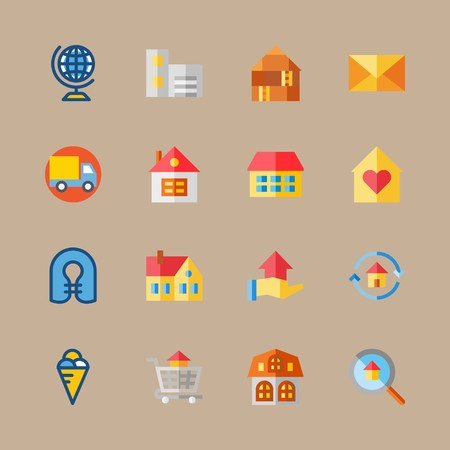 icon set about travel with building, direction and mail Vectores