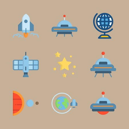 icon set about universe with planet earth, earth and spacecraft 矢量图像