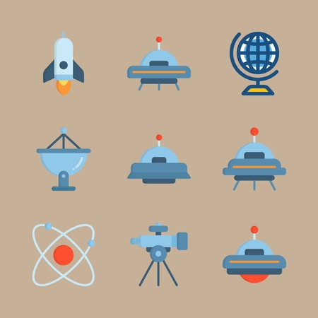 icon set about universe with telescope, alien and spacecraft