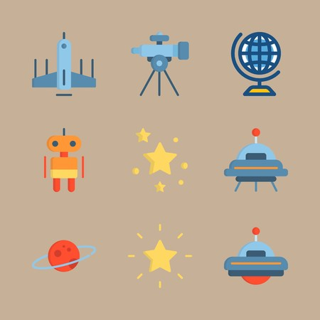 icon set about universe with robot, saturn ring and planet saturn