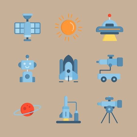 icon set about universe with alien, telescope car and spacecraft 矢量图像