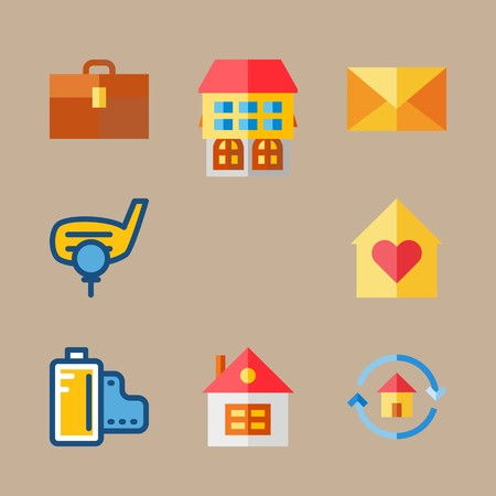 icon set about travel with mail, film negatives and golf ball
