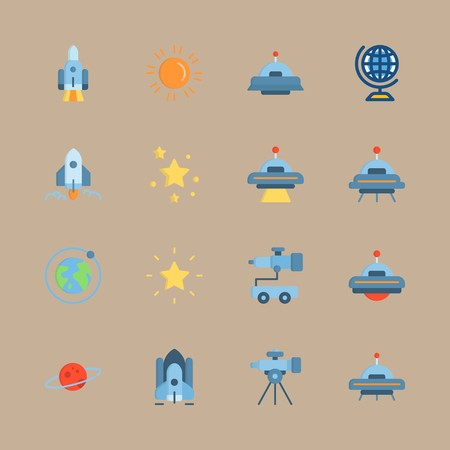 icon set about universe with sun, star and ufo