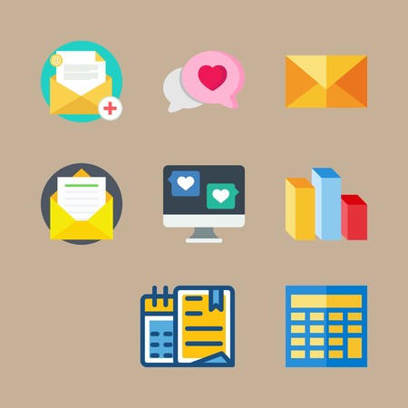 icon set about marketing with chat, columns and calculator