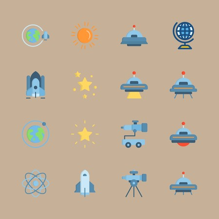icon set about universe with ufo, star and spacecraft