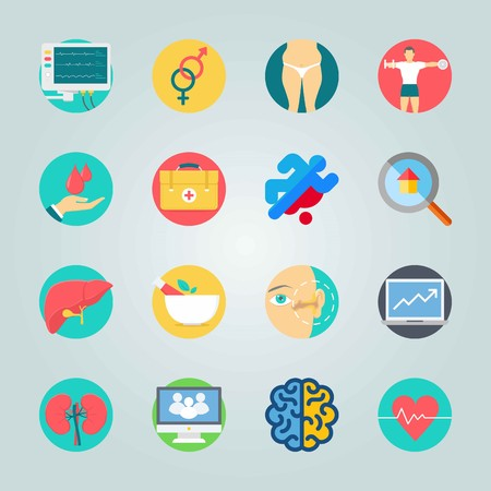 Icon set about Medical. with dead, fat  and laptop 矢量图像