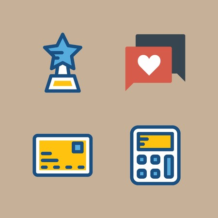 icon set about marketing with calculator, star and chat 矢量图像