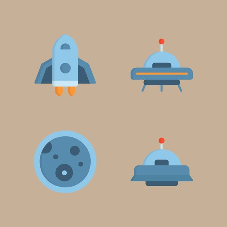 icon set about universe with space craft, ufo and planet 矢量图像