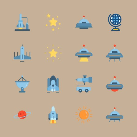 icon set about universe with sun, telescope and alien