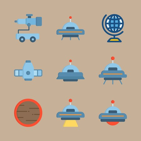 icon set about universe with craft, planet and ufo