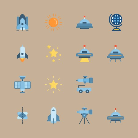 icon set about universe with circles, telescope and sun 矢量图像
