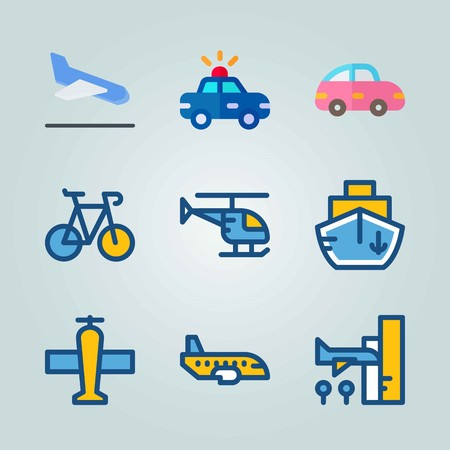Icon set about Transport. with pink car, aircraft and backside