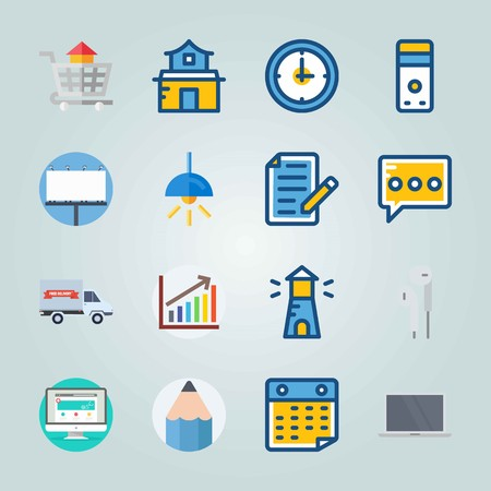 Icon set about Digital Marketing. with pencil, eam and home