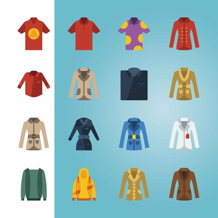 Icon set about Man Clothes. with coat, shirt and hoodie