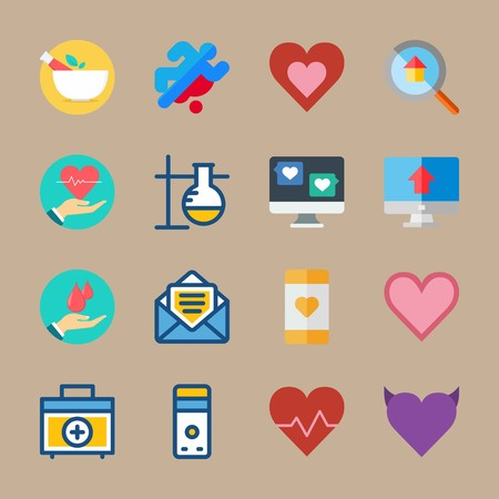 icon set about medical with loupe, letter and computer