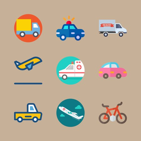 icon set about transport with airplane, departure and truck
