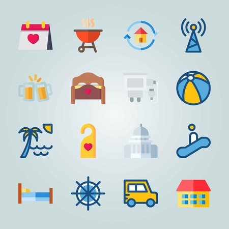 Icon set about Travel. with beer, antenna and calendar Ilustrace
