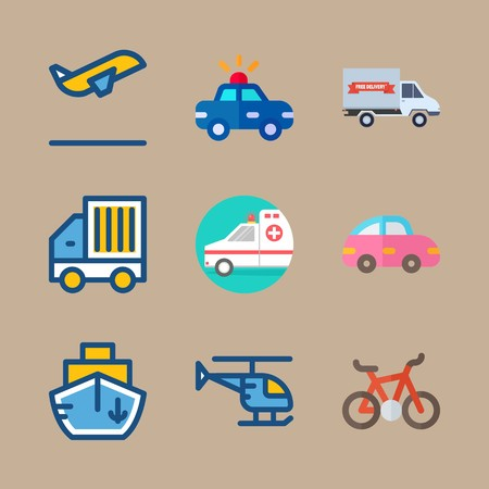 icon set about transport with bicycle, helicopter and goods car