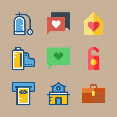icon set about travel with house, ballon and home