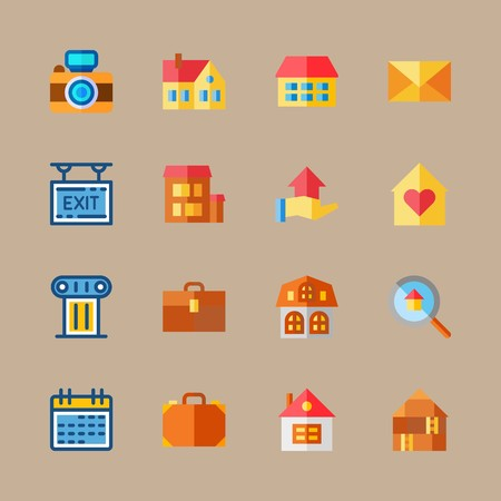icon set about travel with exit, schedule and home